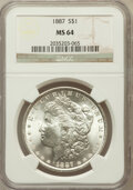 Morgan Dollars: , 1887 $1 MS64 NGC. NGC Census: (76727/29427). PCGS Population(55233/16347). Mintage: 20,290,710. Numismedia Wsl. Price for ...
