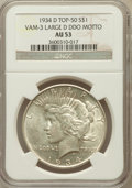 Peace Dollars, 1934-D $1 Large D Double Die Obverse Motor AU53 NGC. Vam-3, Top-50.NGC Census: (71/4112). PCGS Population (78/5351). Minta...