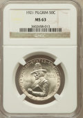 Commemorative Silver: , 1921 50C Pilgrim MS63 NGC. NGC Census: (193/1744). PCGS Population(482/1980). Mintage: 20,053. Numismedia Wsl. Price for p...