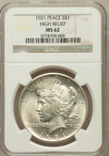 Peace Dollars, 1921 $1 MS62 NGC. Ex: High Relief. NGC Census: (1810/7427). PCGSPopulation (1936/8714). Mintage: 1,006,473. Numismedia Wsl...