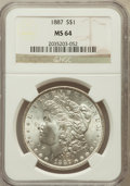 Morgan Dollars: , 1887 $1 MS64 NGC. NGC Census: (76465/29354). PCGS Population(55130/16310). Mintage: 20,290,710. Numismedia Wsl. Price for ...