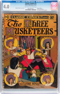 Golden Age (1938-1955):Classics Illustrated, Classic Comics #1 The Three Musketeers - First Edition (Gilberton, 1941) CGC VG 4.0 Light tan to off-white pages....