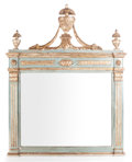 Decorative Arts, French:Other , A FRENCH DIRECTOIRE-STYLE GILT WOOD AND PAINTED MIRROR . France,circa 1820. 62 inches high x 47 inches wide. ...