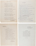 Autographs:Celebrities, Cora McNeill: Four Poems Written by Her, all Signed. ... (Total: 4 )