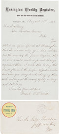 Autographs:Celebrities, [James-Younger Gang]. Mark L. De Motte Autograph Letter Signed....