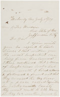 Autographs:Celebrities, [James-Younger Gang]. J. W. Ragsdale Autograph Letter Signed....