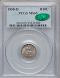Seated Half Dimes, 1858-O H10C MS65 PCGS. CAC....