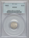 Three Cent Silver, 1862 3CS MS66 PCGS....