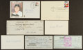 Autographs:Letters, Baseball Greats Signed Checks, Cachets And Index Cards Lot Of 7....