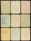 Autographs:Index Cards, Baseball Greats Signed Album Pages Lot Of 10 Including the GashouseGang....