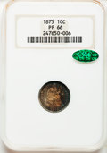 Proof Seated Dimes, 1875 10C PR66 NGC. CAC....