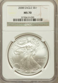 Modern Bullion Coins, 2008 $1 Silver Eagle MS70 NGC. NGC Census: (5111). PCGS Population(1462). Numismedia Wsl. Price for problem free NGC/PCGS...