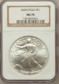 Modern Bullion Coins: , 2004 $1 Silver Eagle MS70 NGC. NGC Census: (2052). PCGS Population(240). Numismedia Wsl. Price for problem free NGC/PCGS ...