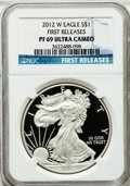 Modern Bullion Coins, 2012-W $1 One-Ounce Silver American Eagle, First Releases PR69Ultra Cameo NGC. NGC Census: (4889/13373). PCGS Population (...