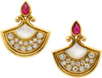 Christian Dior Ruby, Mother of Pearl & Diamond 18K Yellow Gold Earrings