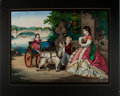 """Books:Prints & Leaves, Superb 19th Century Colored Lithograph. Approximately 24.5"""" x 20"""". Matted and mounted on studio board. Probably dating from ..."""