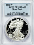 Modern Bullion Coins, 2008-W $1 Silver Eagle PR70 Deep Cameo PCGS. PCGS Population(1377). NGC Census: (12206). Numismedia Wsl. Price for proble...