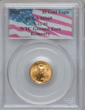 Modern Bullion Coins: , 2001 G$5 Tenth-Ounce Gold Eagle MS69 PCGS. Ex: 9-11-01, WTC GroundZero Recovery. PCGS Population (2255/38). NGC Census: (5...