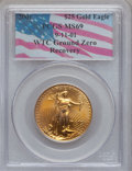 Modern Bullion Coins: , 2001 G$25 Half-Ounce Gold Eagle MS69 PCGS. Ex: 9-11-01, WTC GroundZero Recovery. PCGS Population (1643/21). NGC Census: (5...