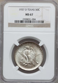 Commemorative Silver: , 1937-D 50C Texas MS67 NGC. NGC Census: (93/3). PCGS Population(126/2). Mintage: 6,605. Numismedia Wsl. Price for problem f...