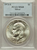 Eisenhower Dollars: , 1973-S $1 Silver MS68 PCGS. PCGS Population (822/3). NGC Census: (139/1). Mintage: 869,400. Numismedia Wsl. Price for probl...