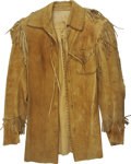 "Movie/TV Memorabilia:Costumes, Barbara Stanwyck's Screen-Worn Jacket from ""The Big Valley.""Victoria Barkley's tan suede Western jacket with thin, matching...(Total: 1 Item)"