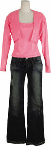Music Memorabilia:Costumes, Cher's Pink Top and Blue Jeans from Her Personal Wardrobe. Includesa bright pink halter top with small pink sequins and mat... (Total:1 Item)