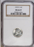 Roosevelt Dimes: , 1959-D 10C MS66 Full Bands NGC. NGC Census: (0/0). PCGS Population(208/55). Mintage: 164,919,792. (#85119)...