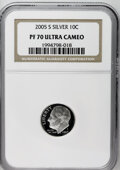 Proof Roosevelt Dimes: , 2005-S 10C Silver PR70 Deep Cameo NGC. PCGS Population (63/0).(#95311)...