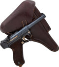 Handguns:Semiautomatic Pistol, German Erfurt Police Model P08 1911 Luger Semi-Automatic Pistol with Holster....