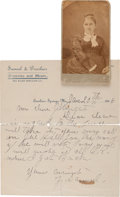 Autographs:Celebrities, Zerelda James: A Scarce Carte de Visite Photo Along with aHandwritten Letter. ... (Total: 6 )