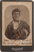 Photography:Cabinet Photos, Jesse James: A Rare Cabinet Photo Version His Famous Image Dressedas a Quantrill Guerilla....