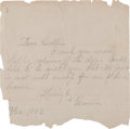 Autographs:Celebrities, Anna James: Early 1903 Pencil Note Referencing Husband Frank. ...