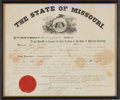 Western Expansion, Jesse James: Original 1875-Dated Missouri Arrest Warrant DocumentIssued by the Governor of Missouri in Response to the Kansas...
