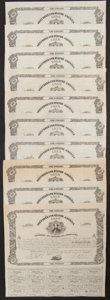 Confederate Notes:Group Lots, Ball 72 Cr. 34 $100 Bond 1861 Ten Examples Fine or Better.. ...(Total: 10 items)