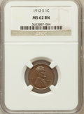 Lincoln Cents: , 1912-S 1C MS62 Brown NGC. NGC Census: (45/102). PCGS Population(36/125). Mintage: 4,431,000. Numismedia Wsl. Price for pro...