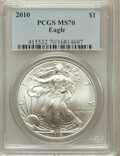 Modern Bullion Coins, 2010 $1 Silver Eagle MS70 PCGS. PCGS Population (45870). NGCCensus: (4526). Numismedia Wsl. Price for problem free NGC/PC...