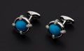 "Estate Jewelry:Cufflinks, ""Eli Frei"" Persian Turquoise 18k Gold Cufflinks. ..."