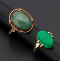 Estate Jewelry:Rings, Two Green Jade & Gold Rings. ... (Total: 2 Items)