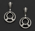 "Estate Jewelry:Earrings, ""Eli Frei"" Diamond & Onyx 18k Gold Earring. ..."