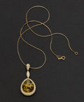 "Estate Jewelry:Necklaces, ""Eli Frei"" Amber & 18k Gold Diamond Necklace. ..."