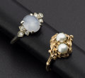 Estate Jewelry:Rings, Moon Stone Ring & Cultured Pearl Ring. ... (Total: 2 Items)