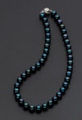 Estate Jewelry:Pearls, Cultured Black Pearl & Silver Necklace. ...