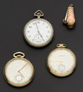 Timepieces:Pocket (post 1900), Elgin & Two Colonial Waltham & Cigar Clipper. ... (Total: 4 Items)