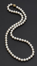 Estate Jewelry:Pearls, Cultured Pearls, Diamond, Gold, Necklace. ...
