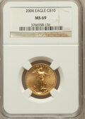 Modern Bullion Coins, 2004 G$10 Quarter-Ounce Gold Eagle MS69 NGC. NGC Census:(2343/1239). PCGS Population (14046/420). Numismedia Wsl. Pricef...