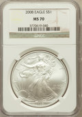 Modern Bullion Coins, 2008 $1 Silver Eagle MS70 NGC. NGC Census: (5215). PCGS Population(1462). Numismedia Wsl. Price for problem free NGC/PCGS...