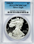 Modern Bullion Coins, 2008-W $1 Silver Eagle PR70 Deep Cameo PCGS. PCGS Population(1380). NGC Census: (12240). Numismedia Wsl. Price for proble...