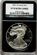 Modern Bullion Coins, 2001-W $1 Silver Eagle PR70 Ultra Cameo NGC. 25th Anniversary Holder. NGC Census: (3533). PCGS Population (1060). Numismed...