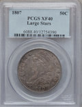 Bust Half Dollars, 1807 50C Capped Bust, Large Stars XF40 PCGS. O-114, R.3....